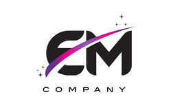 EM E M Black Letter Logo Design with Purple Magenta Swoosh. And Stars Stock Image