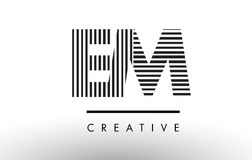 EM E M Black and White Lines Letter Logo Design. EM E M Black and White Letter Logo Design with Vertical and Horizontal Lines Stock Images