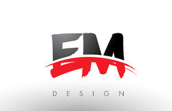 EM E M Brush Logo Letters with Red and Black Swoosh Brush Front. EM E M Brush Logo Letters Design with Red and Black Colors and Brush Letter Concept Royalty Free Stock Image