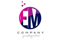 EM E M Circle Letter Logo Design with Purple Dots Bubbles. EM E M Circle Letter Logo Design with Purple Magenta Dots Bubbles Vector Illustration Royalty Free Stock Photo