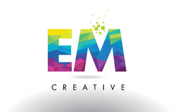 EM E M Colorful Letter Origami Triangles Design Vector. EM E M Colorful Letter Design with Creative Origami Triangles Rainbow Vector Stock Photo