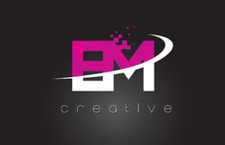 EM E M Creative Letters Design With White Pink Colors. EM E M Creative Letters Design. White Pink Letter Vector Illustration Stock Photography