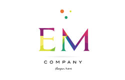 Em e m  creative rainbow colors alphabet letter logo icon. Em e m  creative rainbow colors colored alphabet company letter logo design vector icon template Royalty Free Stock Image