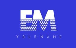 EM E M Dotted Letter Logo Design con el fondo azul Fotos de archivo