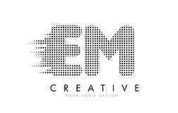 EM E M Letter Logo with Black Dots and Trails. EM E M Letter Logo Design with Black Dots and Bubble Trails Stock Photography