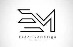 EM E M Letter Logo Design in Black Colors. Creative Modern Letters Vector Icon Logo Illustration Stock Images