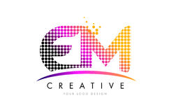 EM E M Letter Logo Design with Magenta Dots and Swoosh. EM E M Dots Letter Logo Design with Magenta Bubble Circles and Swoosh Stock Photos