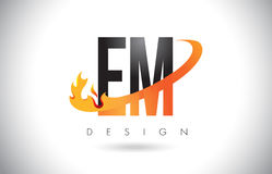EM E M Letter Logo with Fire Flames Design and Orange Swoosh. EM E M Letter Logo Design with Fire Flames and Orange Swoosh Vector Illustration Royalty Free Stock Photos