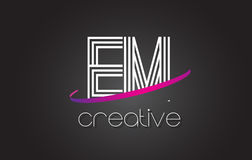 EM E M Letter Logo with Lines Design And Purple Swoosh. EM E M Letter Logo with Lines Design And Purple Swoosh Vector Letters Illustration Stock Photo