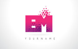 EM E M Letter Logo with Pink Purple Color and Particles Dots Des. EM E M Letter Logo with Pink Letters and Purple Color Particles Dots Design Stock Images