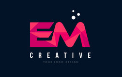 EM E M Letter Logo with Purple Low Poly Pink Triangles Concept. EM E M Purple Letter Logo Design with Low Poly Pink Triangles Concept Stock Images