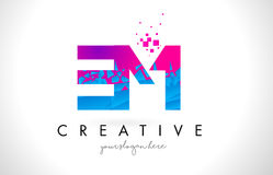 EM E M Letter Logo with Shattered Broken Blue Pink Texture Desig. EM E M Letter Logo with Broken Shattered Blue Pink Triangles Texture Design Vector Illustration Stock Photography