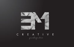 EM E M Letter Logo with Zebra Lines Texture Design Vector. EM E M Letter Logo with Zebra Lines Texture Design Vector Illustration Stock Image
