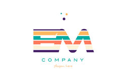 Em e m line stripes pastel color alphabet letter logo icon templ. Em e m alphabet letter logo colors colorful line stripe font creative text dots company vector Royalty Free Stock Images