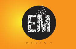 EM E M Logo Made of Small Letters with Black Circle and Yellow B. EM E M Logo Design Made of Small Letters with Black Circle and Yellow Background Stock Photography