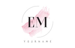 EM E M Watercolor Letter Logo Design with Circular Brush Pattern. EM E M Watercolor Letter Logo Design with Circular Shape and Pastel Pink Brush Stock Photography