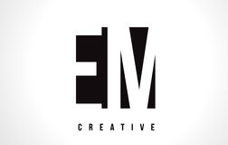 EM E M White Letter Logo Design with Black Square. EM E M White Letter Logo Design with Black Square Vector Illustration Template Stock Photo