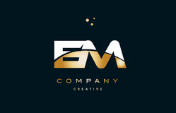 Em e m  white yellow gold golden luxury alphabet letter logo ico. Em e m  white yellow gold golden metal metallic luxury alphabet company letter logo design Royalty Free Stock Photo