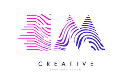 EM E M Zebra Lines Letter Logo Design with Magenta Colors. EM E M Zebra Letter Logo Design with Black and White Stripes Vector Royalty Free Stock Image
