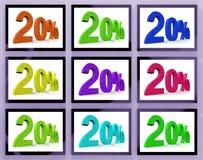 20 em economias e em bônus das mostras dos monitores Imagens de Stock