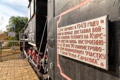 Em 737-62 för ångalokomotiv Belgorod Ryssland Fotografering för Bildbyråer