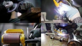 4 em 1 - fabricação industrial Trabalho com detalhes de uma tubulação do ferro Processo de solda video estoque