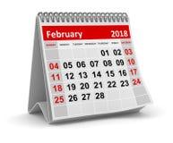 Em fevereiro de 2018 - calendário ilustração do vetor
