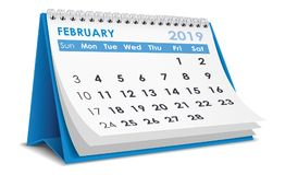 Em fevereiro de 2019 calendário fotos de stock
