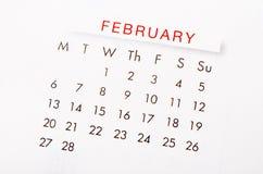 Em fevereiro de 2017 calendário Foto de Stock Royalty Free