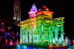 Em fevereiro de 2013 - Harbin, China - festival de lanterna do gelo fotos de stock