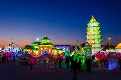Em fevereiro de 2013 - Harbin, China - gelo internacional e festival da neve Fotografia de Stock Royalty Free