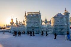 Em fevereiro de 2013 - Harbin, China - gelo internacional e festival da neve Imagem de Stock Royalty Free