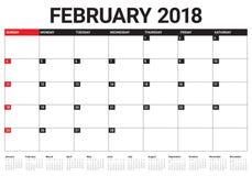Em fevereiro de 2018 ilustração do vetor do planejador do calendário Imagens de Stock Royalty Free