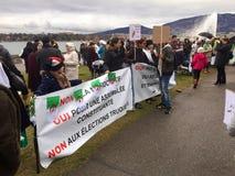 Em Genebra, protesto contra a candidatura de Bouteflika para a eleição em Argélia, na frente do alto comissário para direitos hum imagens de stock
