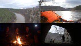 4 em 1: Grupo de viagem dos espeleólogos Caminhada, sentando-se pelo fogo, explorando a caverna vídeos de arquivo