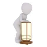 em incógnito homem dos desenhos animados 3D com lâmpada de madeira Fotografia de Stock Royalty Free