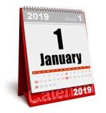 Em janeiro de 2019 calendário do ano novo ilustração do vetor