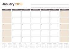Em janeiro de 2018 ilustração do vetor do planejador do calendário Fotos de Stock Royalty Free