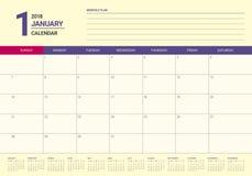 Em janeiro de 2018 ilustração do vetor do planejador do calendário Foto de Stock