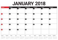 Em janeiro de 2018 ilustração do vetor do planejador do calendário Imagens de Stock Royalty Free