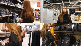 4 em 1 - jovem mulher no shopping que procura pela roupa e pelos acessórios filme