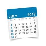 Em julho de 2017 calendário Imagem de Stock