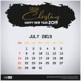 Em julho de 2019 molde do calendário do ano novo Fundo do encabe?amento do curso da escova ilustração do vetor