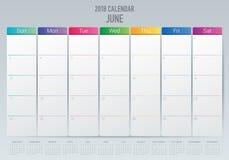 Em junho de 2018 ilustração do vetor do planejador do calendário Foto de Stock Royalty Free