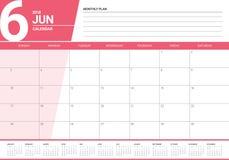 Em junho de 2018 ilustração do vetor do planejador do calendário Fotos de Stock Royalty Free
