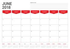 Em junho de 2018 ilustração do vetor do planejador do calendário Imagens de Stock Royalty Free