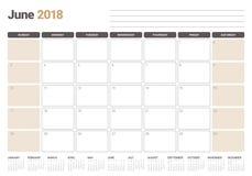 Em junho de 2018 ilustração do vetor do planejador do calendário Fotografia de Stock Royalty Free