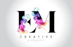 EM Leter criativo vibrante Logo Design com tinta colorida Fl do fumo ilustração do vetor