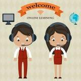 Em linha aprendendo a placa bem-vinda Imagens de Stock Royalty Free