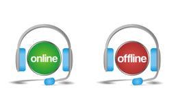 Em linha off line converse, apoie, ajude o ícone Fotografia de Stock Royalty Free